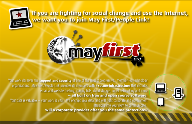 Imágenes para Mayfirst flyer front.